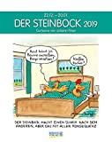 Steinbock 2019: Sternzeichenkalender-Cartoonkalender als Wandkalender im Format 19 x 24 cm.