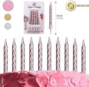 SHATCHI-10 Velas en Espiral de Oro Rosa Tartas de cumpleaños, Aniversario, Fiesta, decoración (Gifts 4 All Occasions Ltd 11829)