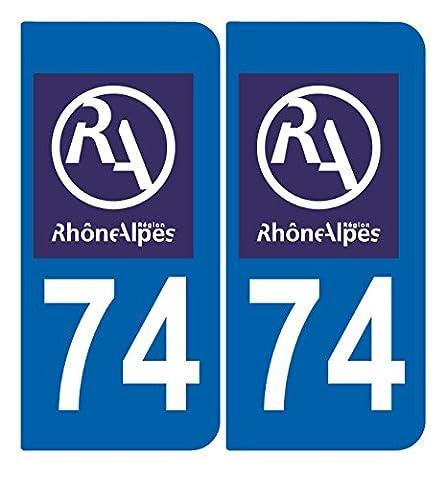 2 Stickers RHONE ALPES style Plaque Immatriculation département 74