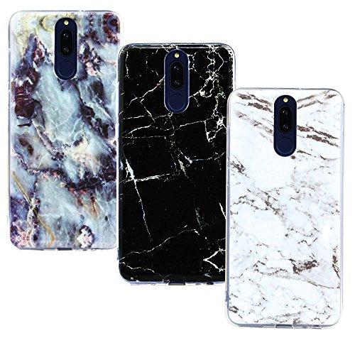 CLM-Tech kompatibel mit Huawei Mate 10 Lite Hülle 3X, TPU Gummi Case Silikonhülle 3er Set, Marmor Muster schwarz weiß Mehrfarbig