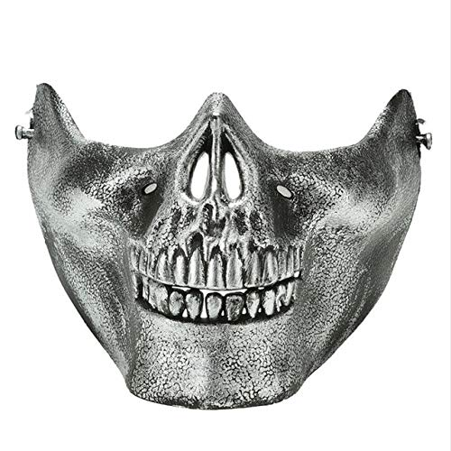 Womens Kostüm Skull - Minch Scary Maske Halloween Skull Skeleton Mask Kostüm Half Face Masks für Party Cospaly   Silber