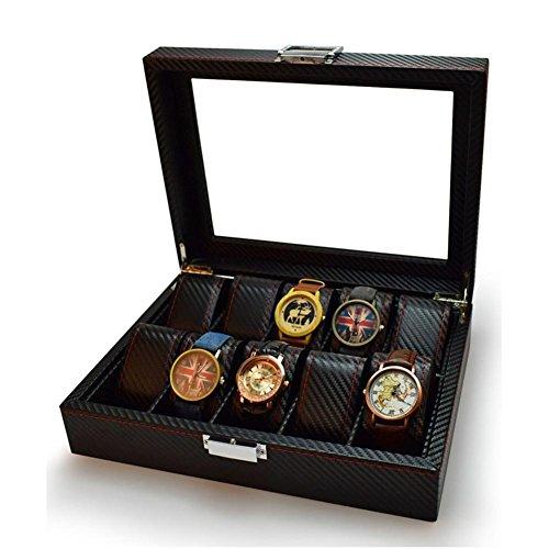 AMYMGLL Black Carbon Fiber Pattern Uhrenbox Display Aufbewahrungskoffer mit Glasplatte, rote Nähte perforiert weichen Kissen hält 10 Uhren - rot Nähen