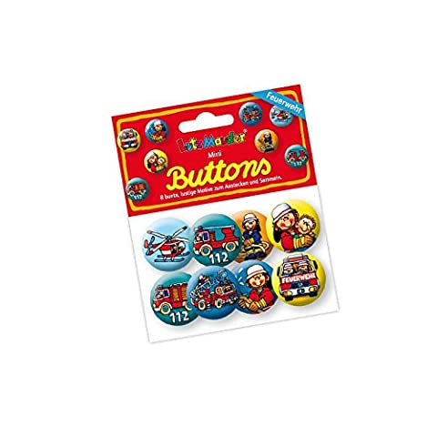 Lutz Mauder Verlag 67229 Mini Fire Brigade Badges with Lapel Pin 8-Pack [German Language] Ideal for Children's Birthdays / Party Bag Gift