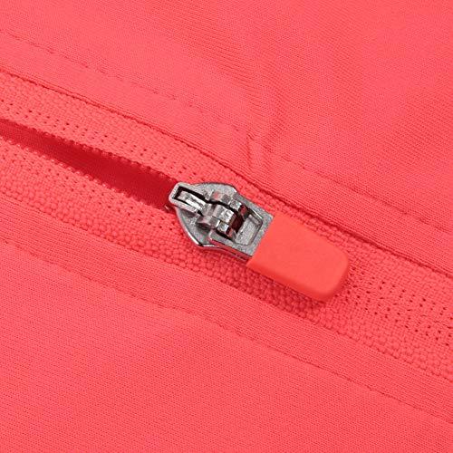 Zerone Frauen Yoga Jacke, Atmungsaktiv Kühlend Weiches Gewebe Langarm Reißverschluss Frauen Laufen Yoga Shirts im Freien Sportjacke(M-Rot)