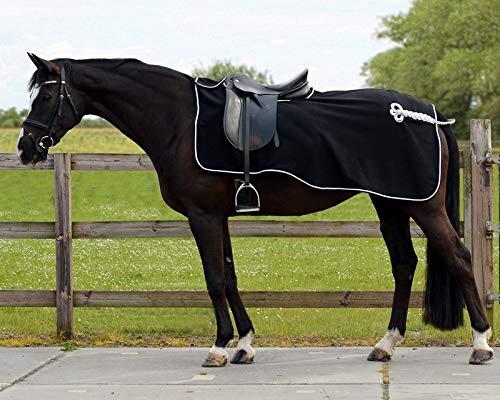 QHP Nierendecke Fleece-Ausreitdecke Ornament Fleecedecke Sattelausschnitt schwarz-silber (L)