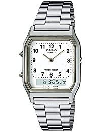 Casio Collection, AQ-230A-7BMQYES, Reloj Unisex, Plateado, Blanco