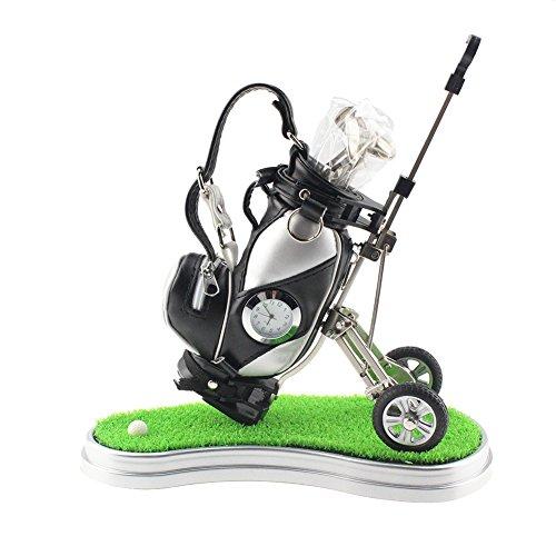 Mini sac de golf porte-crayons Crestgolf pour le bureau avec 3 stylos en forme de club de golf - Vert - Avec horloge, Noir/argenté