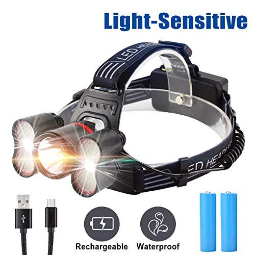 Wesho Version Amélioré Lampe 4000-6000 Lumen Torche Frontale Puissante Ultra USB Rechargeable 40 LED 4 Modes d'Eclairage 2 Batteries