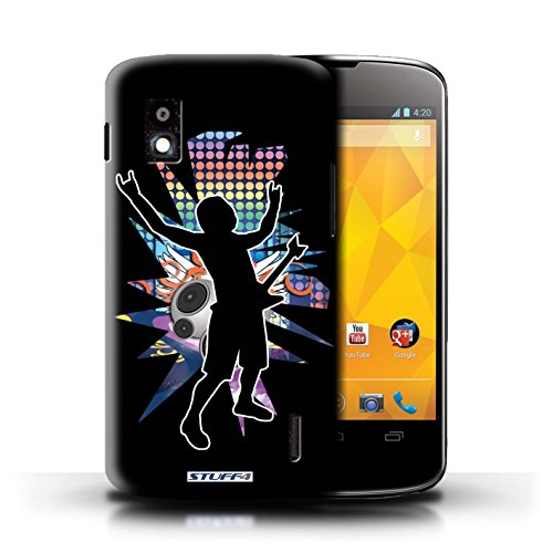 Kobalt® Imprimé Etui / Coque pour LG Nexus 4/E960 / Chanteur Noir conception / Série Rock Star Pose Rock n Roll Noir