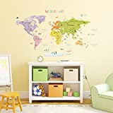 Decowall DMT 1306N Colourful World Map Kids Wall Stickers Wall Decals Peel  And Stick Removable