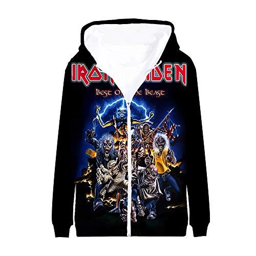 Unisex Iron Maiden Sudaderas Padre-Hijo Use Abrigo Suelto con la impresión de la Chaqueta de Manga Larga con Capucha de la Cremallera de Vestir Exteriores del otoño Iron Maiden Sudaderas con Capucha