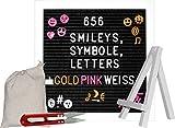 Letter-Board weiss XXL-Set 680 Smileys Zahlen Buchstaben Symbolen in PINK, GOLD, WEISS :: Holz und Filz :: Rillen-Tafel mit Schere, Ständer :: Buchstabenbrett quadratisch :: Stecktafel weiß-schwarz