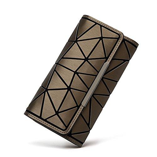minyun Frauen Clutch Kleine Brieftasche Geometrie Persönlichkeit Tri-Fold Lange Leuchtend Damen Tasche Wallet,K-OneSize - Kleine Tri-fold