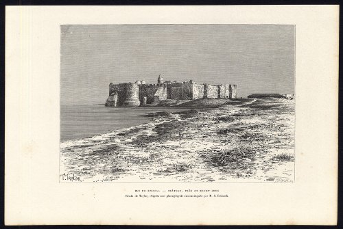 Antico print-tunisia-djerba island-houmt souk-castle-africa-reclus-meaulle-1886