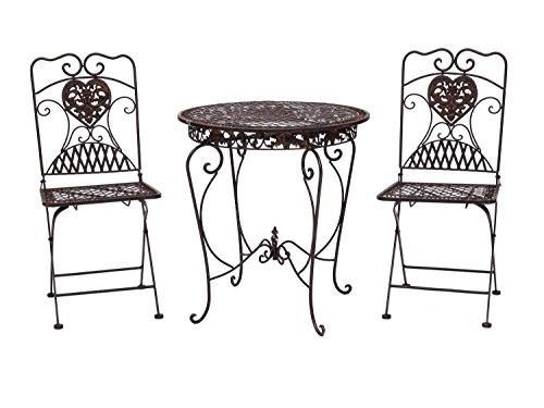 Salon de jardin style antique - 1 table et 2 chaises - fer - marron