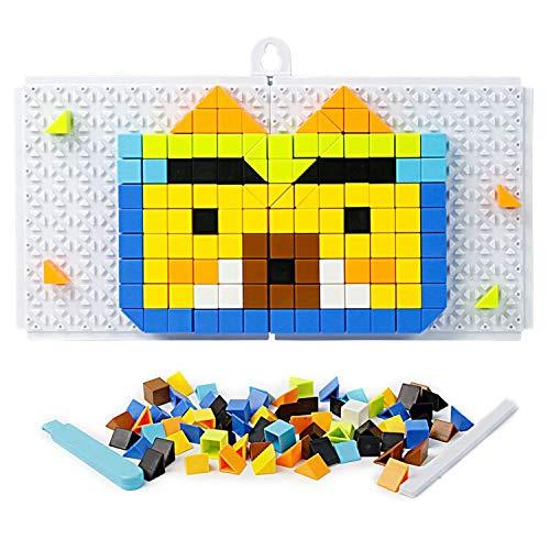 Mosaikbrett Set, Steckspiel Baukasten Puzzle, Bunt Steine Konstruktionsspielzeug, DIY Puzzle Dekoration Geschenke für Kinder ab 4 Jahren, 198+ Stück , MEHRWEG