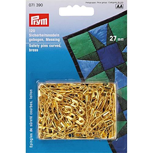 Prym Sicherheitsnadeln gebogen, Nr.1, 27mm, goldfarbig, Messing -