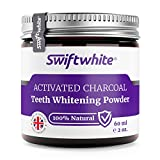 Activated Charcoal Teeth Whitening Powder 60ml by Swiftwhite - 100% Natural & Vegan Teeth Whitener & Charcoal Toothpaste | Made in England