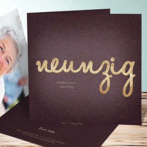 Einladungskarten Geburtstag online gestalten, Goldener Tag 90 70 Karten, Quadratische Klappkarte 145x145 inkl. weiße Umschläge, Lila