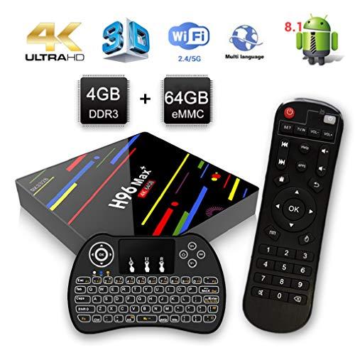 Android 8.1 TV Box,H96 Max+ Smart Box 4 Go de RAM et 64 Go de ROM Support 4K Ultra HD/2.4G WiFi/Vidéo Encodeur H.265/Bluetooth avec Mini Clavier sans Fil Rétroéclairé