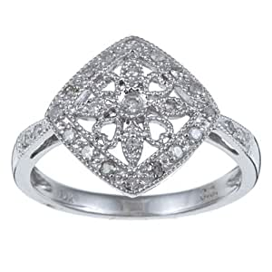 1/5 TDW Antique Vintage Style Pave Diamond Ring in Sterling Silver (G-H, I1-I2)