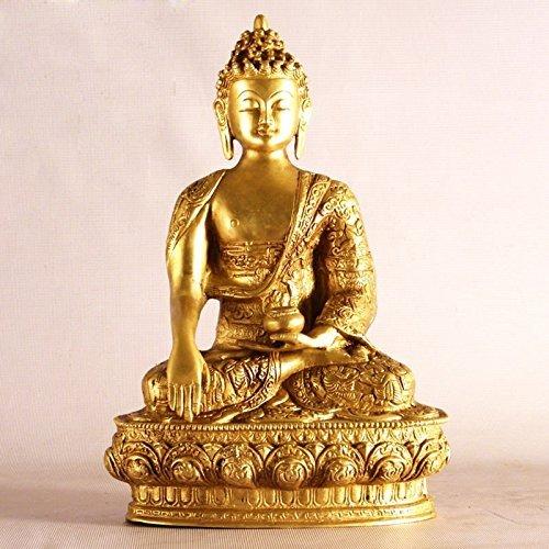 13cm (5pulgadas) decoración de gran figura de buda tibetano Latón Escultura Sentado, Estatua budista para la paz mental