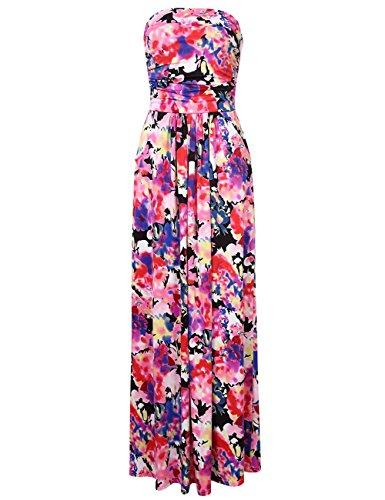 YesFashion Femme robe maxi robe bohemia longue robe a fleur manches courtes col bateau Rose
