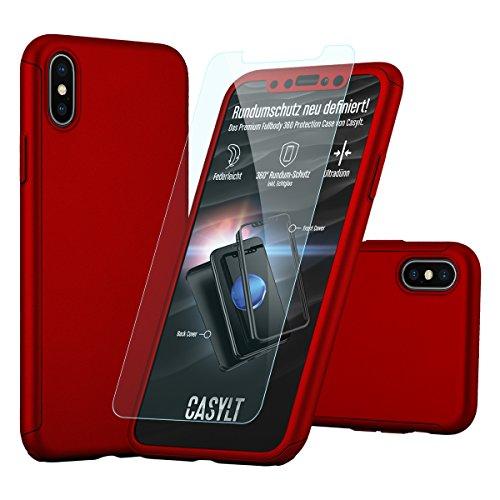 CASYLT iPhone X [10] Hülle 360 Grad Fullbody Case [inkl. 2X Panzerglas] Premium Komplettschutz Handyhülle Rot