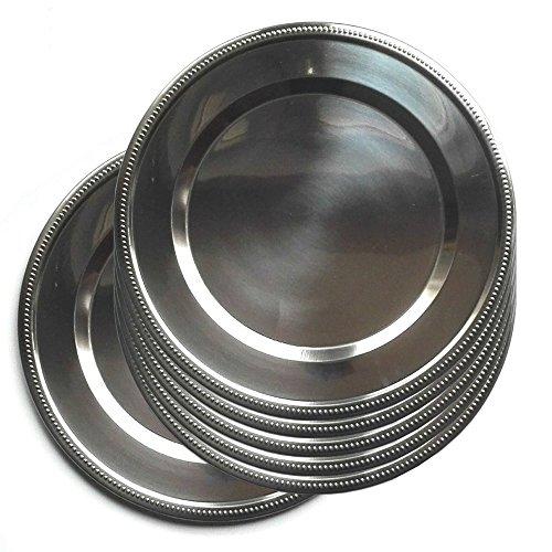 Jpf - Platzteller, rund–Set mit 6Stück–Edelstahl–Silber Ø 32 cm silber