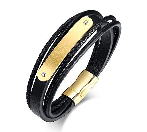Vnox Herren Edelstahl Lederarmband Name Personalisierte Gold ID Tag Wrap Armband 21 cm,Kostenlose Gravur