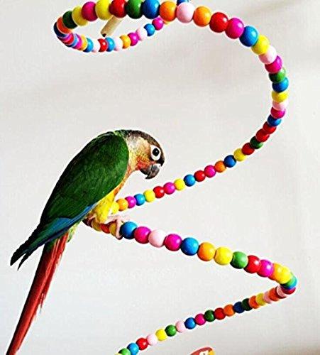 LA VIE Spirale Bastone Uccello in Perline Colorato Uccelli Voliera Giocattoli Chew Giocattolo per Pappagalli Trespolo Altalena per Pappagalli Calopsite Inseparabili Pappagalli Cenerini 80cm