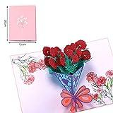 Bllomsem Carta Festa Della Mamma, pop-up 3D biglietto di auguri per mamma, biglietto di auguri per il fiore del garofano per il compleanno della mamma e la festa della mamma