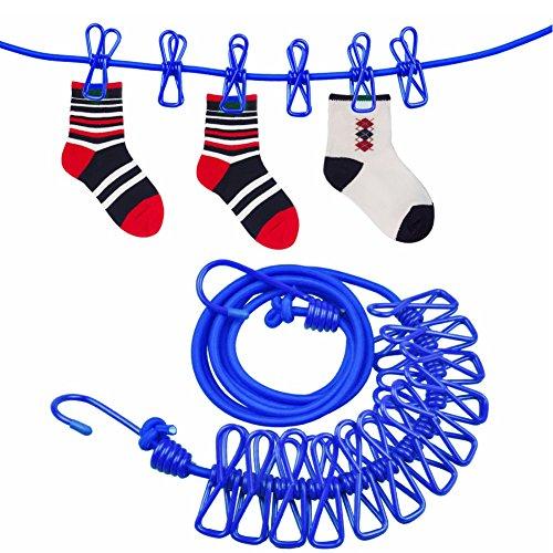 Wäscheleine, Bakicey 2 Stück Flexible Wäscheleine mit 12 beschichteten Klammern und Positionierung Schnalle,180 - 360cm für Outdoor Camping (Blau)