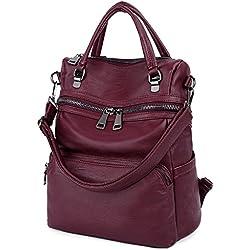 UTO Mujer bolso mochila PU lavado cuero señoras mochila hombro bolsa con borlas de moda cartera 3