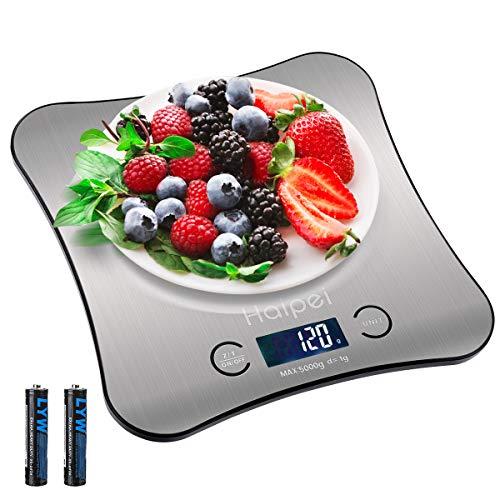 Haipei Küchenwaage, Edelstahl-Küchenwaage, LCD-Display, 4 Modi (g/oz/ml/lb: oz), Genauigkeit 1 g x 5000 g, automatische Abschaltung, einschließlich 2 Batterien