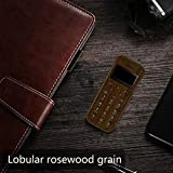Soyes SKYSHOP New 2019 W9 Mini Smallest Thinnest Low Radiation Wooden Design Cute Keypad Mobile Phone (Labular Rosewood Grain)