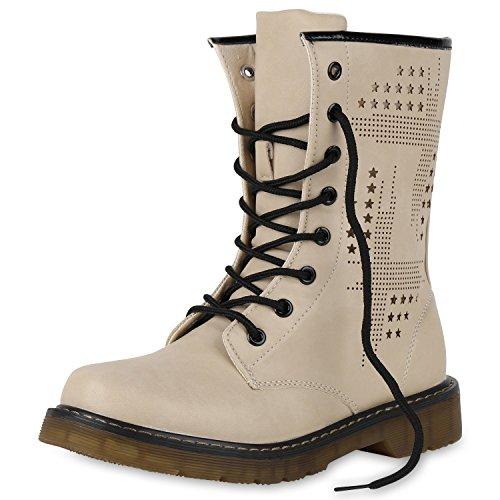 SCARPE VITA Derbe Damen Stiefeletten Worker Boots Schnürstiefel Cut-Outs 151812 Creme Nieten 39