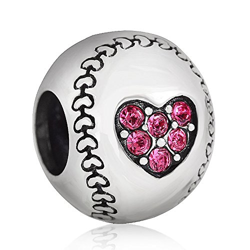 Ollia gioielli in argento sterling 925, golf style perline con zirconia cubica trasparente, dimensioni: 11.2* 9mm) (senza nichel e argento, colore: pink, cod. cws0130-3
