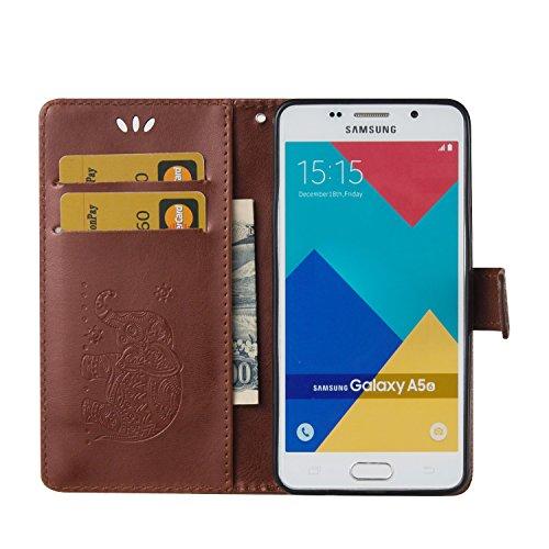 Tasche Luxus Hülle für Samsung Galaxy A5 (2016) A510 Leder Hülle,Handytasche SchutzHülle Brieftasche Wallet Flip für Samsung Galaxy A5 (2016) A510, TOCASO Leder Case Cover Glitter Strass Bling Leder T Braun 1