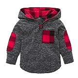 Babykleidung Shopaholic0709 Baby Kleider Kinderkariertes Oberteil Kleinkind-Kind-Baby Plaid Hoodie-Taschen-Sweatshirt-Pullover übersteigt warme Kleidung