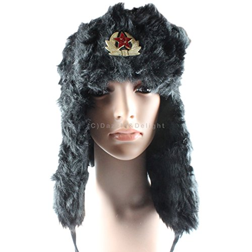 Russian Trapper Hat with Badge Cossack Ski Hat Winter Warm Thermal Black