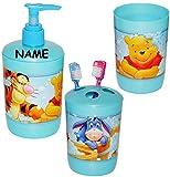 """3 tlg. Badset - Zahnputzset _ """" Disney Winnie the Pooh """" - incl. Name - Seifenspender + Zahnputzbecher + Zahnbürstenhalter - z.B. für Zahnbürste - Kinder & Baby - Kinderzahnbürste & Babyzahnbürste - Mädchen & Jungen - Putztrainer - Zähne putzen - Zähneputzen lernen - Pumpspender - Badezimmerset / Kinderset - Badezimmer - Tigger / Ferkel - Puuh Tiere"""