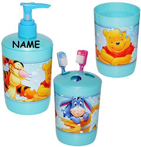 transpar.. alles-meine.de GmbH 3 in 1 Trinkglas Winnie Pooh inkl Becher 250 ml Name BPA frei Kunststoff Plastik Trinkbecher // Zahnputzbecher // Malbecher Disney