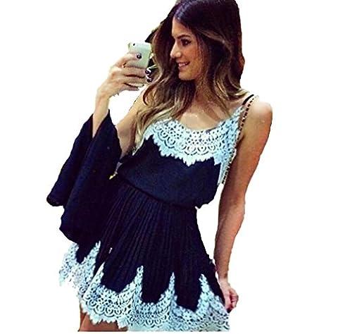 Sannysis Frauen Sexy Lace Stitching Harness Kleid (S/EU 34)