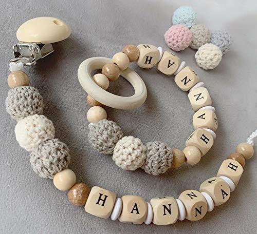Schnullerkette mit Namen ♥ Jung /& Mädchen ♥ Häkelperle  Teddy