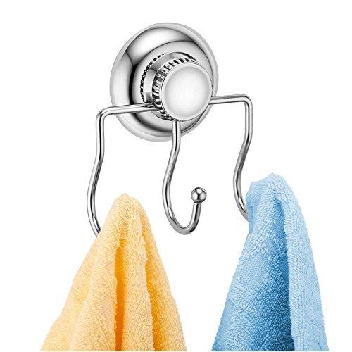 Delex sujeción fuerte no-drilling/ventosa solo gancho–Vaccum sistema–acero inoxidable oxidación–para baño y cocina, Triple Robe