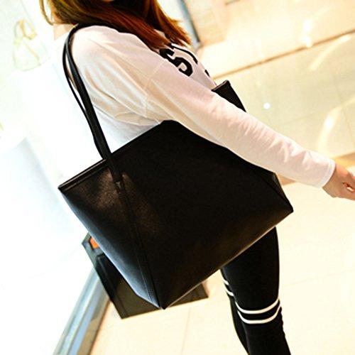 AAA226 Frauen Faux-Leder-Handtaschen-Normallack-Einkaufstasche Große Schulter-Beutel - (Lila) Blau