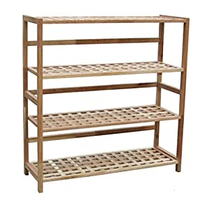 Woodluv 4-Tier Walnut Wooden Shoe Rack Shelf/Shoe Organizer