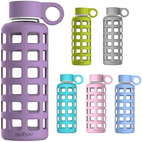 purifyou Glass Water Bottle With Silicone Sleeve & Stainless Steel Lid Insert, 32 Oz, Lavender
