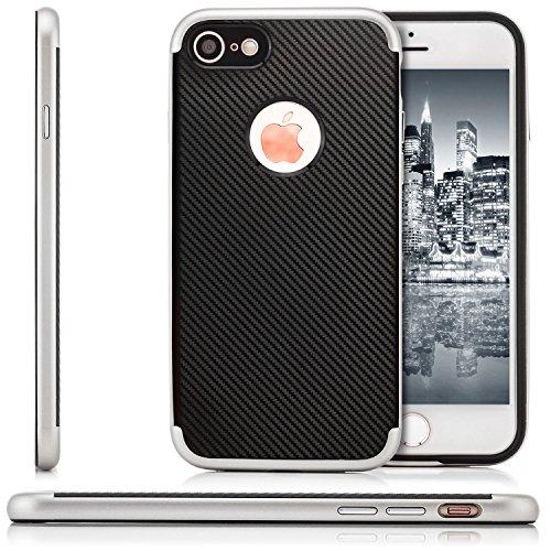zanasta® iPhone 8 / iPhone 7 Hülle, TPU Case Cover [Ultra Hybrid] Slim Silikonhülle Schutzhülle in Carbon-Optik Gold Silber